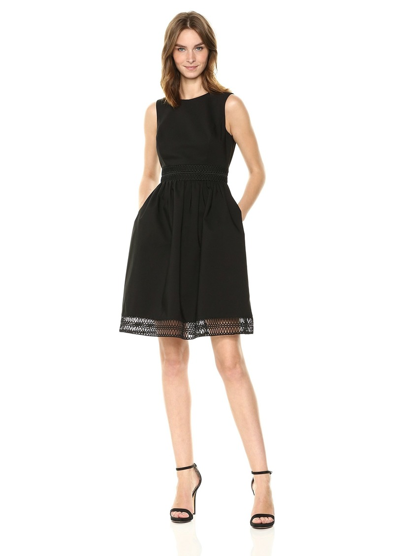 Calvin Klein Women's Sleeveless Cotton Fit and Flare with Novelty Trim Dress