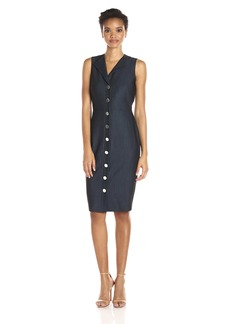 Calvin Klein Women's Sleeveless Denim Button Front Shirt Dress