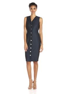 Calvin Klein Women's Sleeveless Denim Button Front Shirt Dress