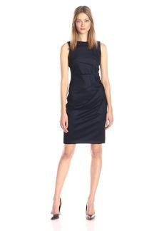 Calvin Klein Women's Sleeveless Denim Scuba Sheath with Starburst Deatil