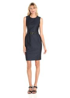 Calvin Klein Women's Sleeveless Denim Sheath Dress with Belt at Waist