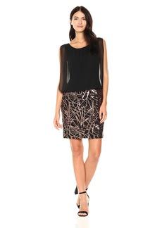 Calvin Klein Women's Sleeveless Dress with Embroidered Skirt Black/Copper
