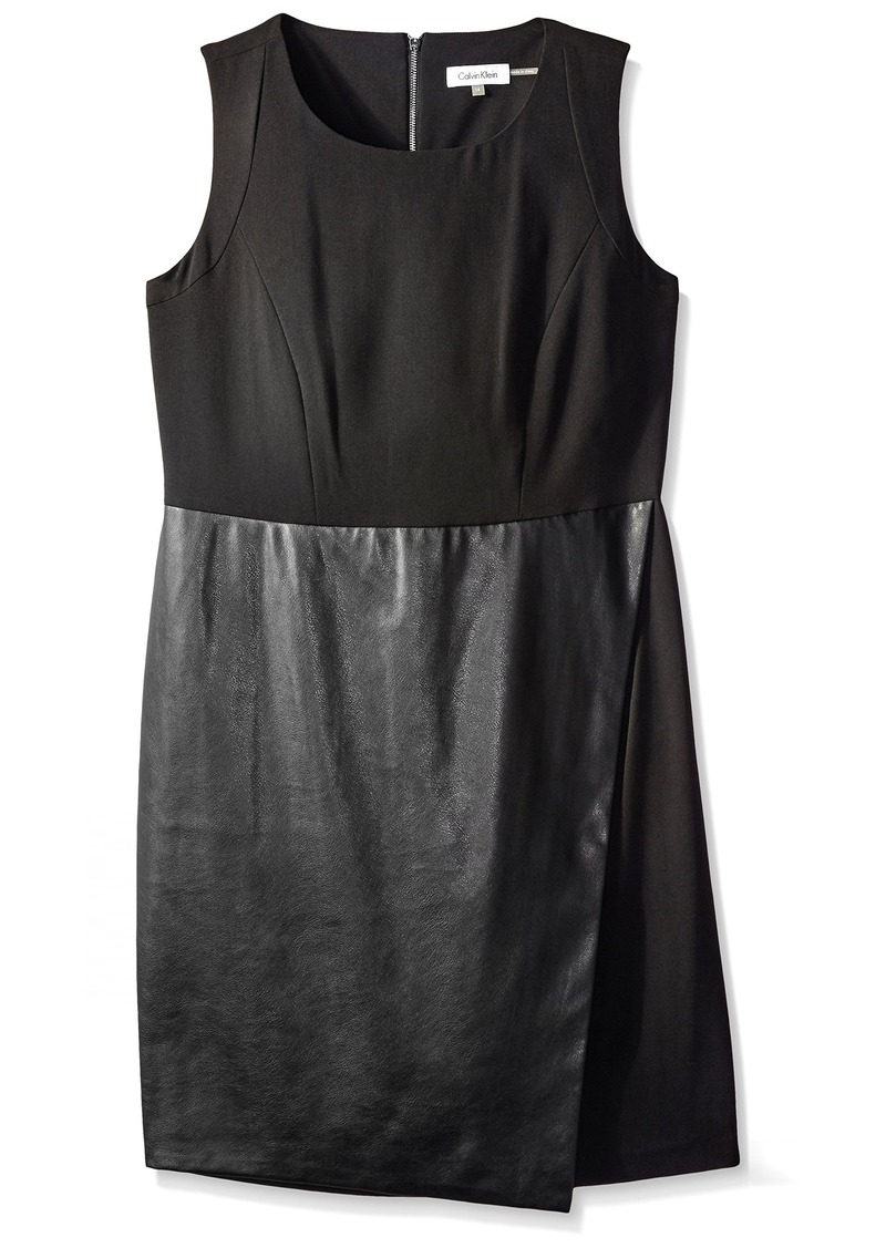 Calvin Klein Women's Sleeveless Dress with Faux Leather Flap