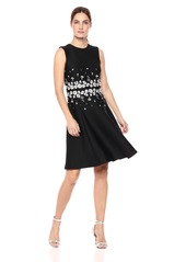 Calvin Klein Women's Sleeveless Embroided Fit and Flare Dress