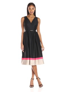 Calvin Klein Women's Sleeveless Fit and Flair Color Block Dress with Belt AT Waist