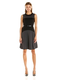 Calvin Klein Women's Sleeveless Fit and Flare Color Block Dress