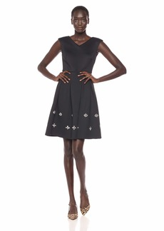 Calvin Klein Women's Sleeveless Fit and Flare Dress with Rhinestone Skirt Detail
