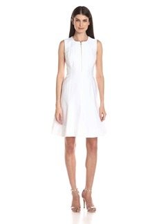 Calvin Klein Women's Sleeveless Fit and Flare Dress Wuth Zipper Front