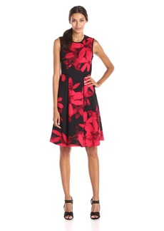 Calvin Klein Women's Sleeveless Floral Print Fit and Flare Dress