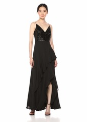 Calvin Klein Women's Sleeveless Gown with Sequin Bodice and Chiffon Ruffle Skirt Black