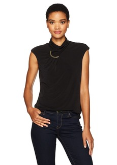 Calvin Klein Women's Sleeveless High Neck Top with Arc Hardware  L