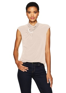 Calvin Klein Women's Sleeveless High Neck Top with Arc Hardware  M