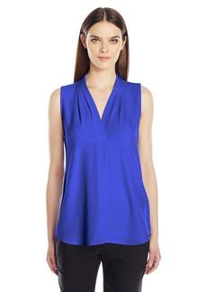 Calvin Klein Women's Sleeveless Inverted Pleat Blouse  L