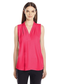 Calvin Klein Women's Sleeveless Inverted Pleat Blouse  M