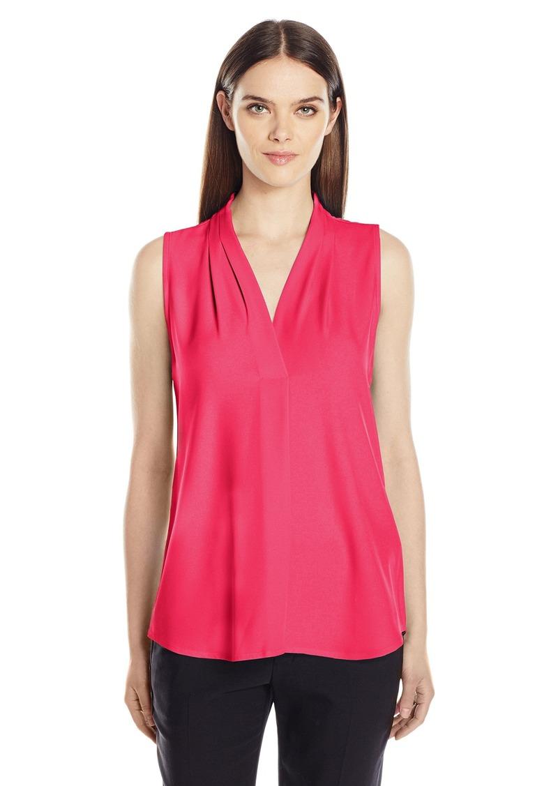 Calvin Klein Women's Sleeveless Inverted Pleat Blouse  M