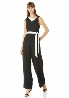 Calvin Klein Women's Sleeveless Jumpsuit with Contrast Asymmetrical Neckline