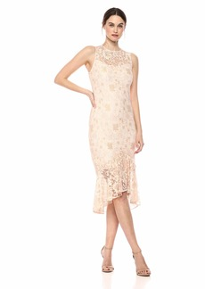 Calvin Klein Women's Sleeveless Lace Sheath with Flounce Skirt Hem