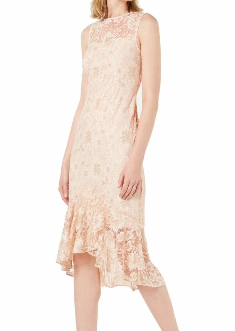 Calvin Klein Women's Sleeveless Lace Sheath with Flounce-Skirt Hem