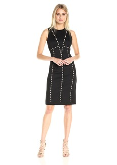 Calvin Klein Women's Sleeveless Laser Cut Piped Scuba Sheath Dress