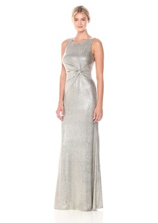 Calvin Klein Women's Sleeveless Long Dress with Ruched Knot