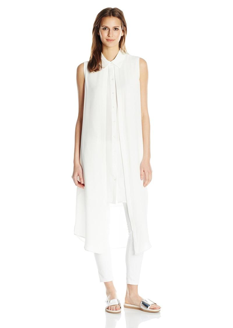 Calvin Klein Women's Sleeveless Long Textured Double Layer Top  L