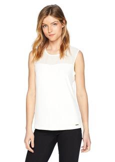 Calvin Klein Women's Sleeveless Matte Jersey Top with Illusion Neckline  M