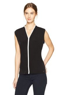 Calvin Klein Women's Sleeveless Matte Jersey V-Neck Top with Piping  M