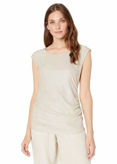 Calvin Klein Women's Sleeveless Metallic Top with Buttons