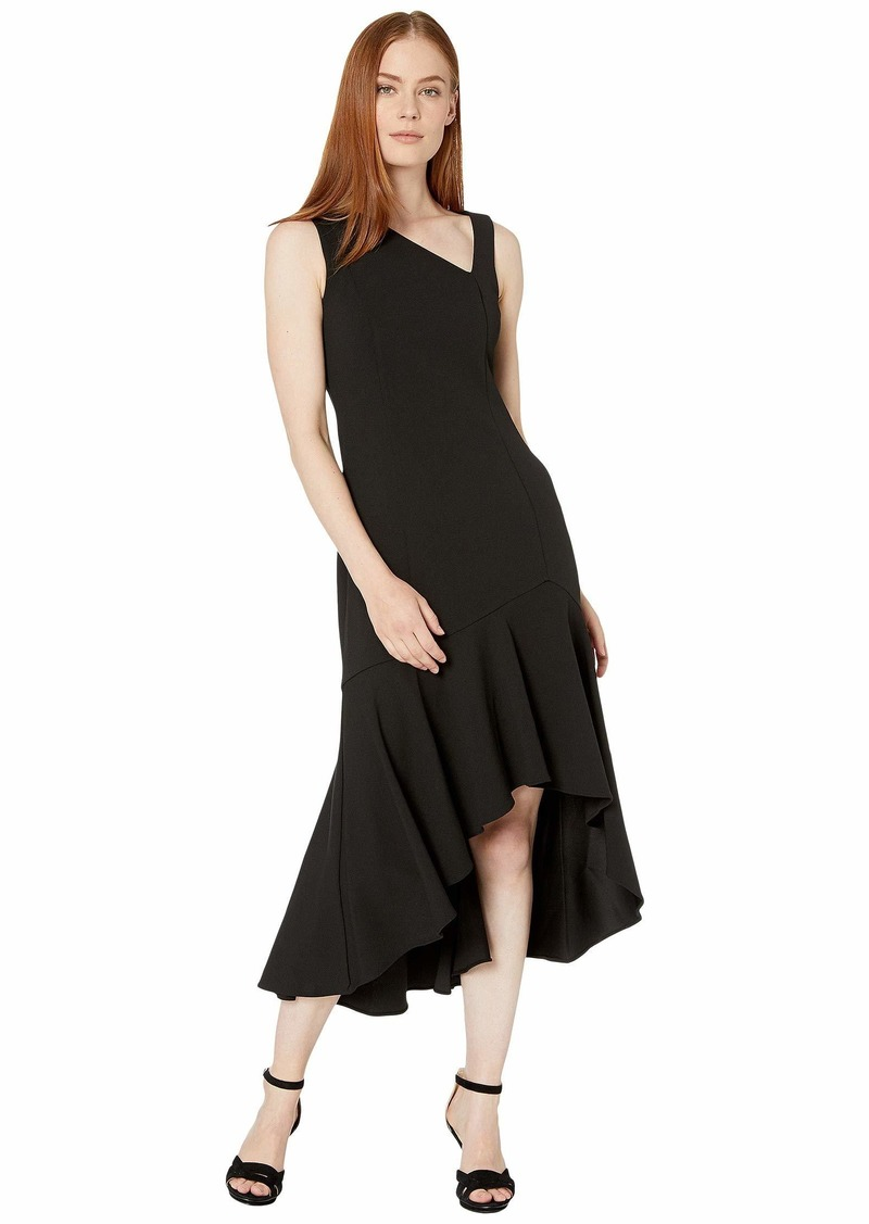 Calvin Klein Women's Sleeveless Midi Dress with Asymmetrical Neckline