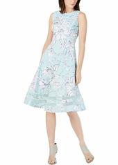 Calvin Klein Women's Sleeveless Midi with Illusion Skirt Hemline