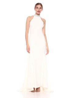 Calvin Klein Women's Sleeveless Mock Neck Halter Gown