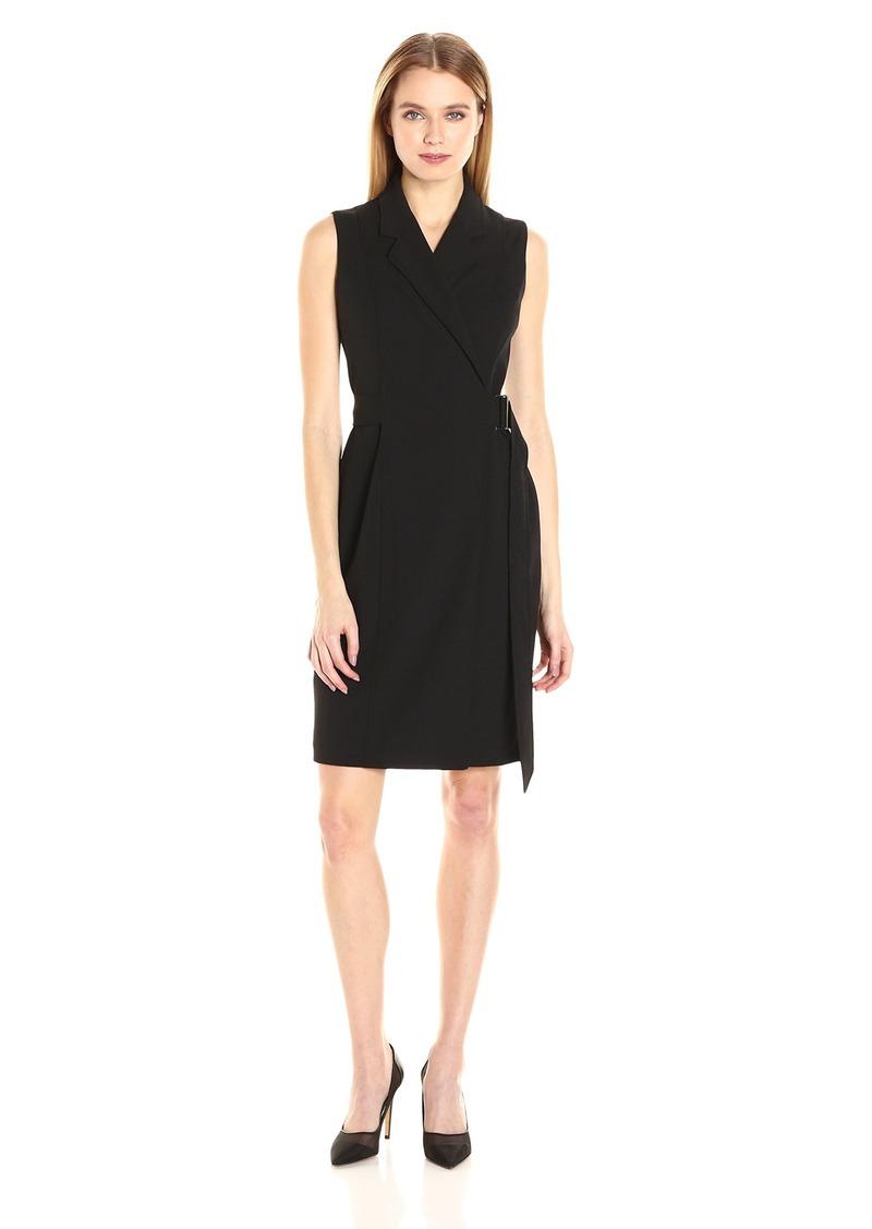 Calvin Klein Women's Sleeveless Notch Collar Faux Wrap Dress with Self Belt