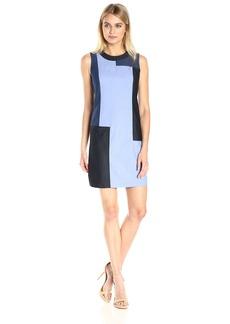 Calvin Klein Women's Sleeveless Patchwork Denim Sheath Dress