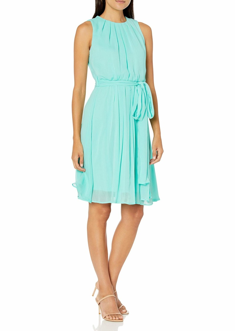 Calvin Klein Women's Sleeveless Pleated Neck Dress with Flared Skirt and Sash Wrap