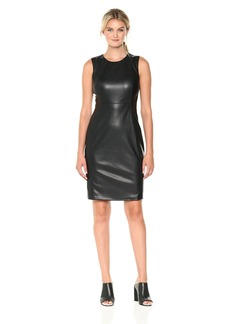 Calvin Klein Women's Sleeveless Pleather Sheath Dress