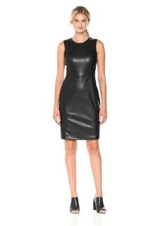Calvin Klein Women's Sleeveless Pleather Sheath Dress