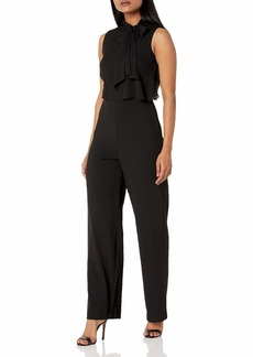 Calvin Klein Women's Sleeveless Pop Over Jumpsuit with Bow Neck