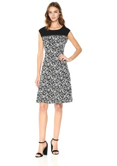Calvin Klein Women's Sleeveless Print Dress With Zipper Yoke  XL