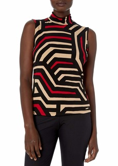Calvin Klein Women's Sleeveless Printed Mock Neck-Knit Top
