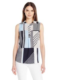 Calvin Klein Women's Sleeveless Printed V-Neck Top  XL