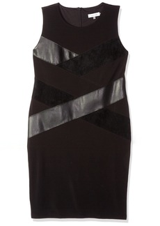 Calvin Klein Women's Sleeveless Pu and Suede Mix Dress