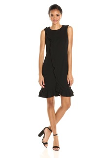Calvin Klein Women's Sleeveless Round Neck Asymmetrical a-Line Dress