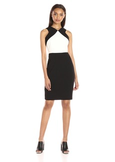 Calvin Klein Women's Sleeveless Round Neck Color Block Scuba Crepe Sheath Dress