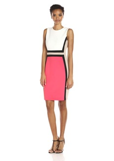 Calvin Klein Women's Sleeveless Round Neck Color Block Sheath Dress