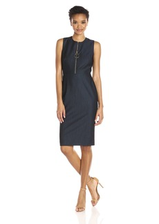 Calvin Klein Women's Sleeveless Round Neck Denim Shift Dress with Zipper Detail