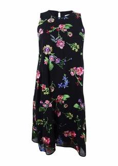 Calvin Klein Women's Sleeveless Round Neck Embroidered Trapeze Dress