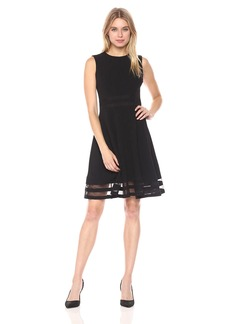 Calvin Klein Women's Sleeveless Round Neck Fit and Flare Dress with Sheer Inserts