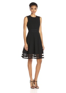 Calvin Klein Women's Sleeveless Round Neck Fit and Flare Dress with Sheer Inserts At Hem