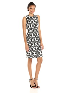 Calvin Klein Women's Sleeveless Round Neck Geometric Pattern Sheath Dress