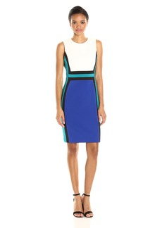 Calvin Klein Women's Sleeveless Round Neck Scuba Sheath Dress with Color Blocking
